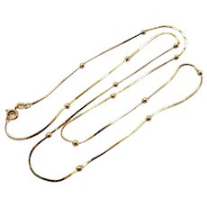14K Yellow Gold Bead Chain Necklace Vintage