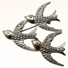 Vintage Triple Bird Sterling Silver Brooch Pin Marcasites