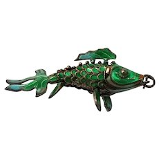 Articulated Fish Pendant Gilt Silver Chinese Export