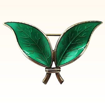 David Andersen Green Enamel Leaf Brooch Sterling Silver