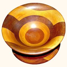 Vintage Wooden Treen Bowl of Inlay mixed woods in Parquetry