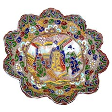 Vintage Porcelain Japanese Moriage Dish or Bowl on tripod feet