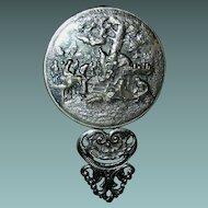 Vintage Pewter pocket mirror, original beveled glass