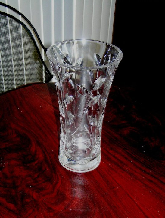 Vintage Cut Glass Vase Clear Heavy Leaded Crystal Line State