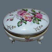 Vintage hand painted oval porcelain box