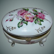 Vintage hand painted oval porcelain box