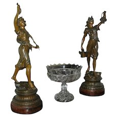 Antique Statues, Art Nouveau, spelter, circa 1900, all original