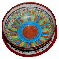 Japanese Kutani bowl and under-plate, Thousand Faces