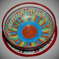 Japanese Kutani bowl and under-plate, Thousand Faces