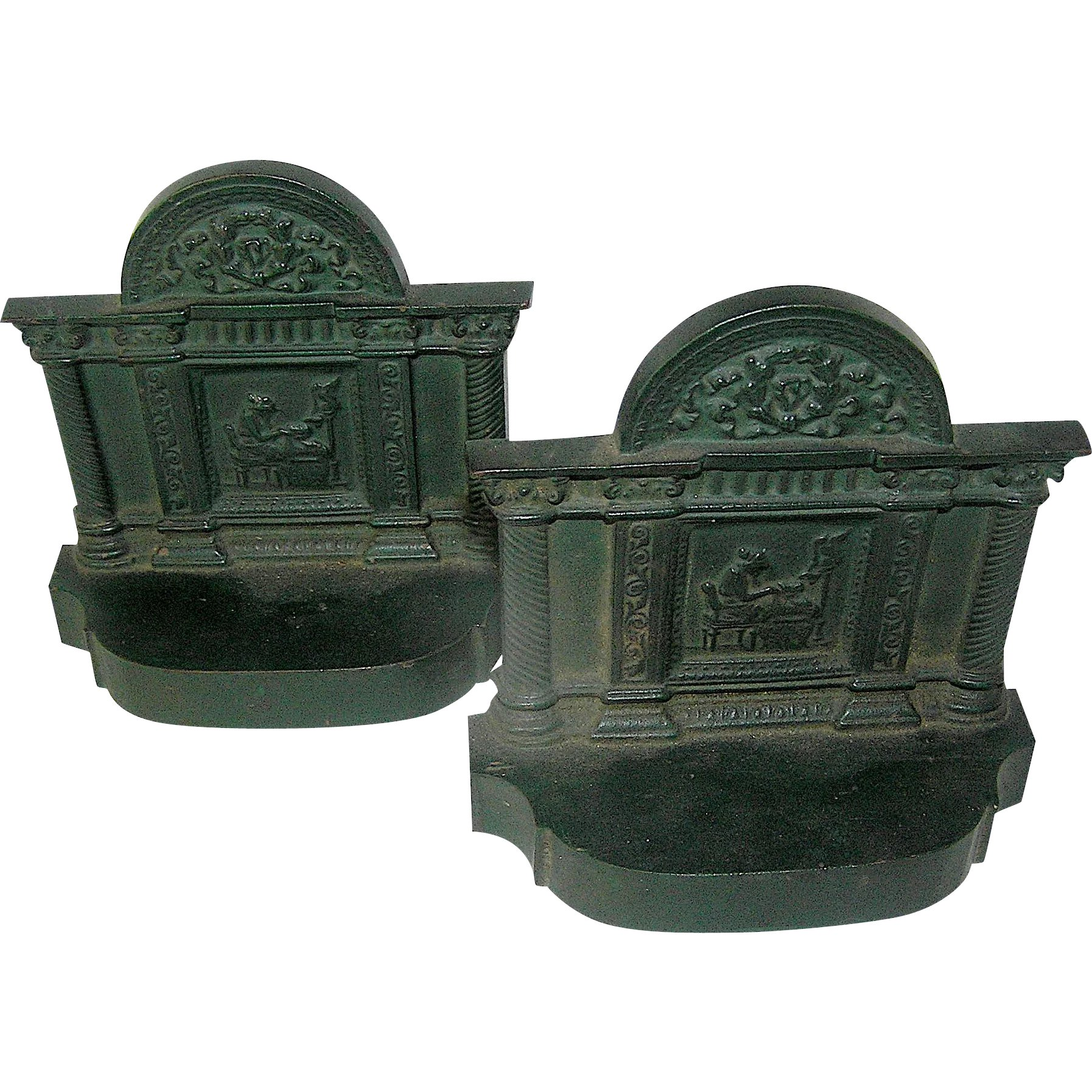 Vintage cast iron book ends line state antiques ruby lane