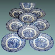 Ceramic Saucers, ( 9 plates ) Old North Church by Liberty Blue