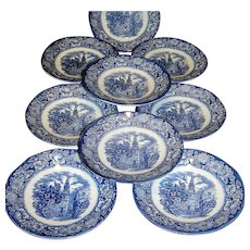 Vintage Ceramic Saucers, ( 9 plates ) Old North Church by Liberty Blue