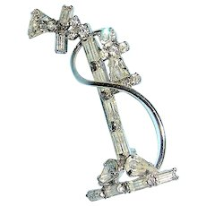 Vintage Rhinestone jewelry pin of an early stick telephone