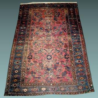 Vintage Hamadan hand made woven oriental Persian rug