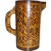 Vintage, rustic, folk art, treen, wooden, pitcher inlaid with contrasting woods, early 20th c.