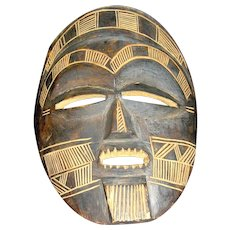 Vintage Mask, Hand Carved Wood, Brown