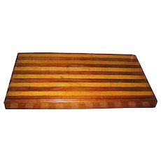 Vintage Treen Wood Chopping  Block Handmade Made OF Two Hardwoods