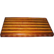 Vintage treen tan and brown mahogany wooden chopping block or stand