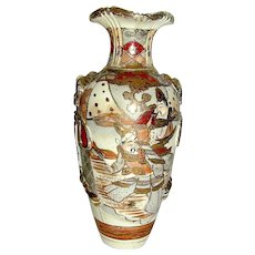 Vintage GUADY SATSUMA Vase Meiji with court officials - Red Tag Sale Item