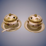 Vintage Pair of matching Japanese Porcelain Covered Condiment Dishes