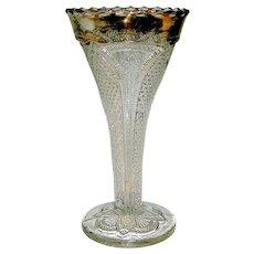 Vintage EAPG trumpet vase- pattern is Massachusetts, flashed gold rim