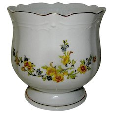 Vintage Jardiniere with yellow flower motif