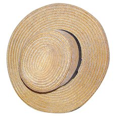 Amish vintage STRAW HAT from Lancaster Valley, Pennsylvania