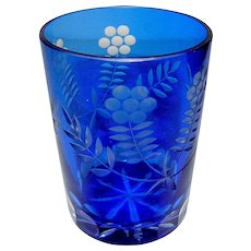 Vintage cut glass blue tumbler or glass
