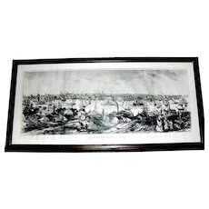 Vintage framed photograph of a litho View Federal Hill Baltimore MD