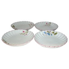 Vintage Meissen scalloped edged plates (4)- blue and pink flower motif