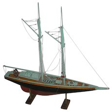 Nautical model Sailboat, all original, hand built, boat mounted on a stand