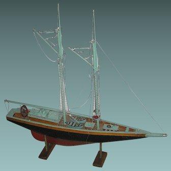 Vintage Sailboat, nautical model ship all original, handmade