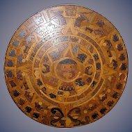 Huge Aztec Sunstone Calendar of indigenous mixed woods