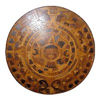 Huge Aztec Sunstone Marquetry Calendar of indigenous mixed woods