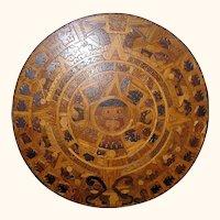 Huge Aztec Sunstone Marquetry Calendar of indigenous mixed woods