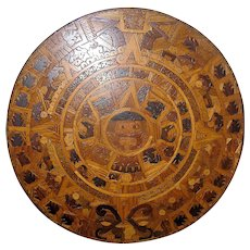 Vintage treen wall hanging AZTEC sunstone calendar light dark browns tans