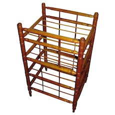 Antique primitive, maple, hand turned store pie rack