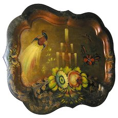 Antique tole tray Chippendale style, late 19th. C.