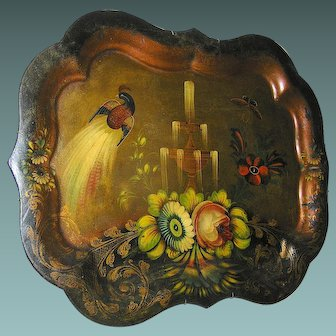 Antique Chippendale Tole Tray 19th century peacock fountain flowers birds