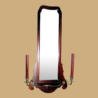 Mahogany Wall Mirror With Brass Candleholders, circa 1930