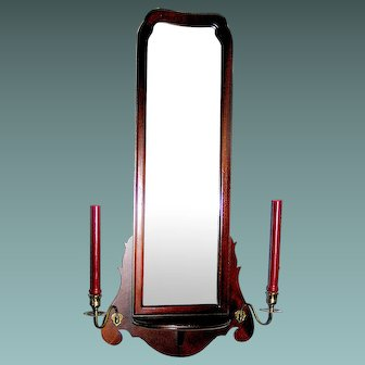 Mahogany Wall Mirror With Brass Candleholders, Queen Anne, circa 1930