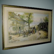 "Vintage Print ""A Chance Passenger"" an English Coach Scene by Joseph C. Claghorn"
