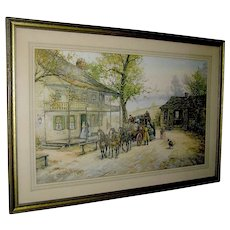 "Vintage Print ""A Chance Passenger"" an English Coach Scene by Joseph C. Claghorn"