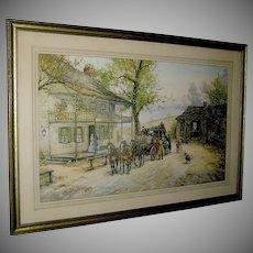 """Vintage Print, engraving """"A Chance Passenger"""", Mail Coach. Joseph C. Claghorn"""