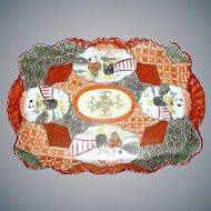 Vintage Japanese Oriental Ceramic Kutani tray