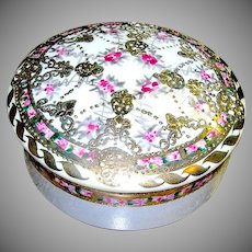 Nippon Covered Dish Vanity Item Pink Red Flowers Decorated in Gold signed