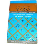 Vintage book, A Dictionary of Marks, Margaret Macdonald Taylor, 1962, revised 1969