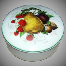 Limoges round china covered trinket box with picture of asst. fruit logo Limoges France