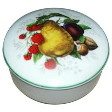 Porcelain Limoges trinket box  motif of fruit