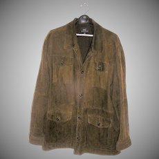 Vintage Suede Coat, Mens size XL, soft in a medium to dark rich brown, 3/4 length